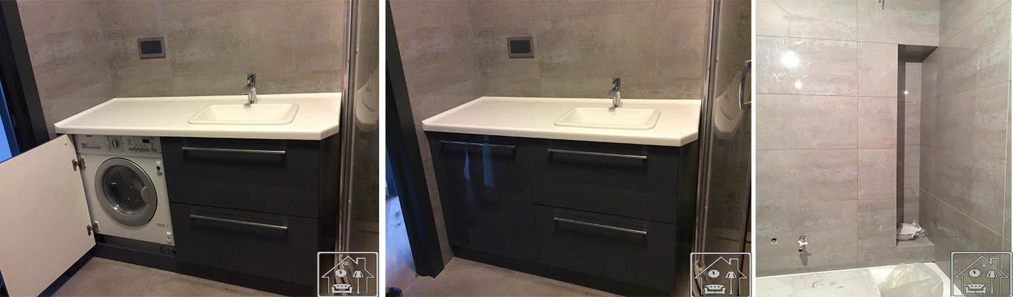Ванная в стиле лофт с стиралкой и нишей