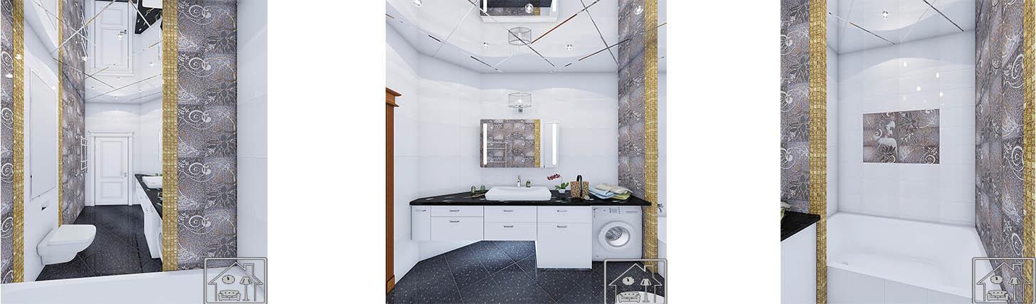 Ванная - совр стиль с мозаикой золотой и серебром