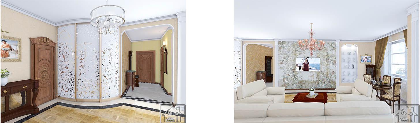 Гостиная Классика 1 с колоннами