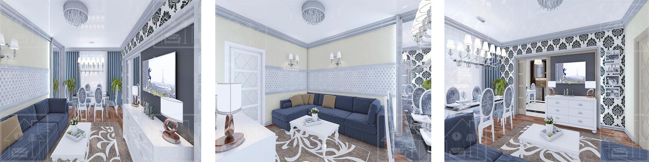 Гостиная в современном класическом стиле_2-х комнатная квартира г_Видное