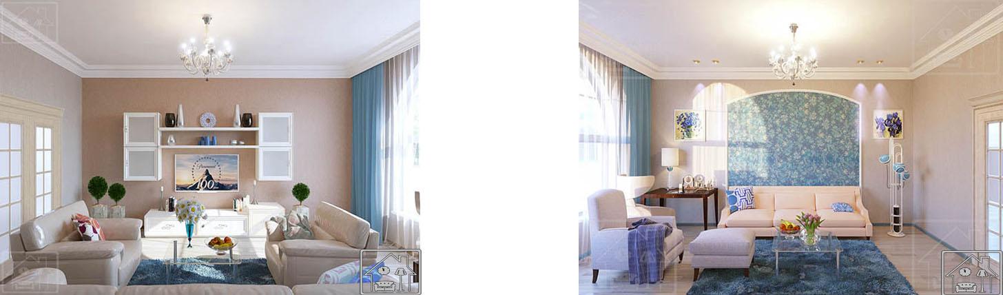 Гостиная в современном классическом стиле в голубых тонах