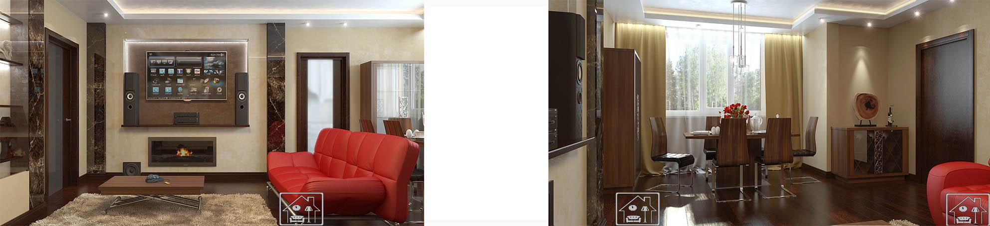 Гостиная в совр стилес мрамором с ТВ нишей