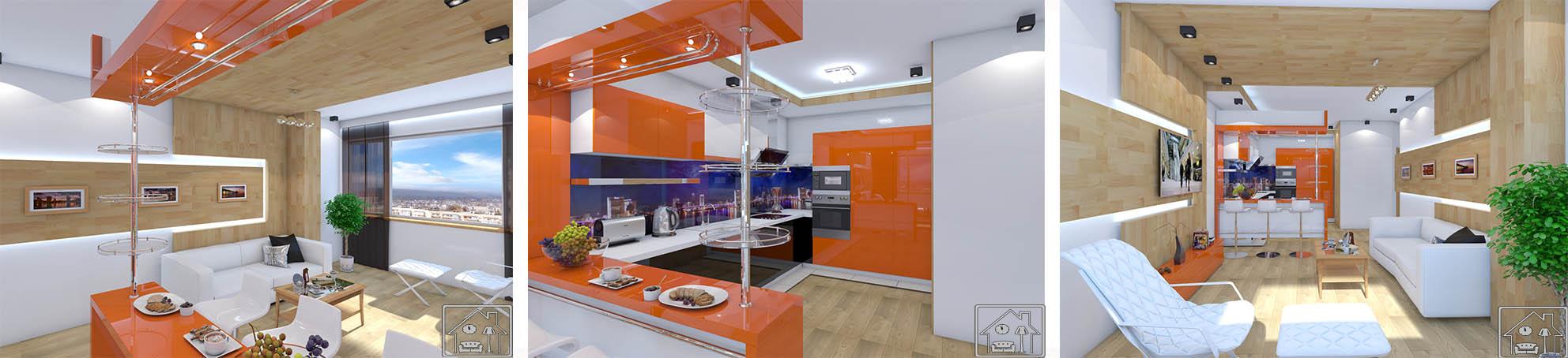 Гостиная в совр стиле Оранж