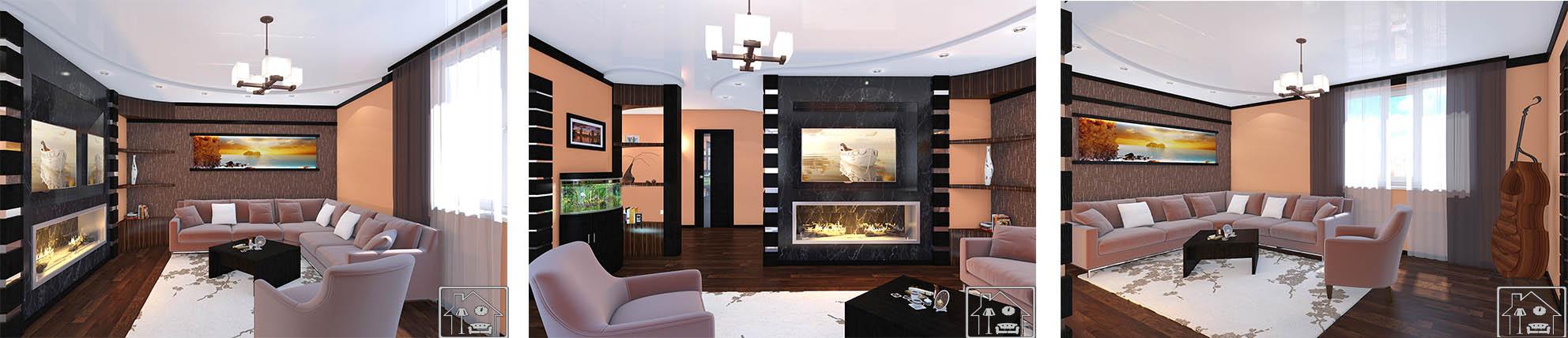 Гостиная-современ с камином и колоннами