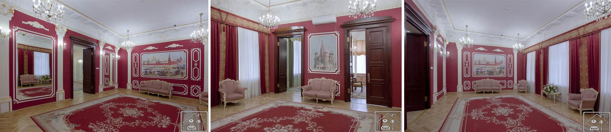 Грибоедоский ЗАГС Красный зал,фрески, ручная позолота колонн и лепного декора