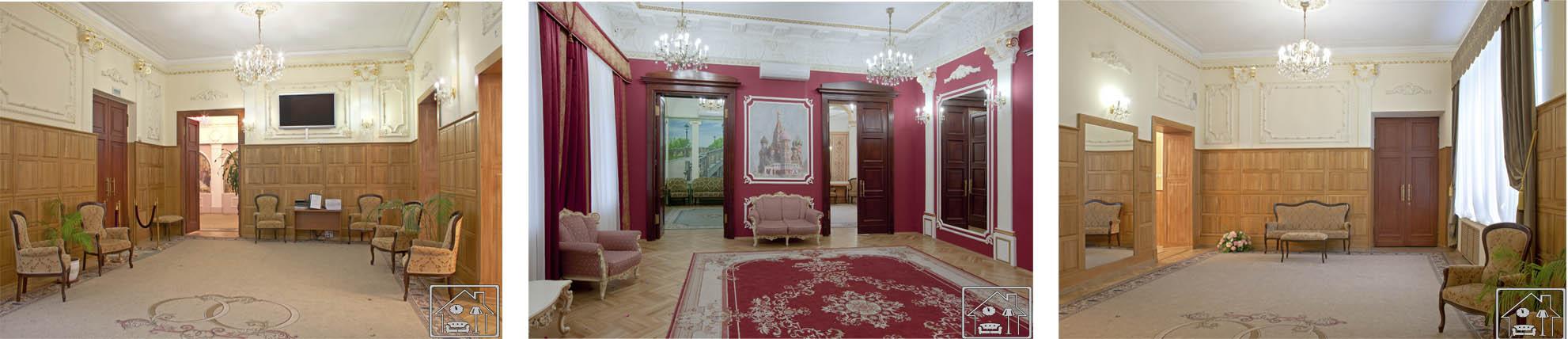 Грибоедоский ЗАГС холл,трафаретный рисунок на стенах,фрески, ручная позолота колонн и лепного декора