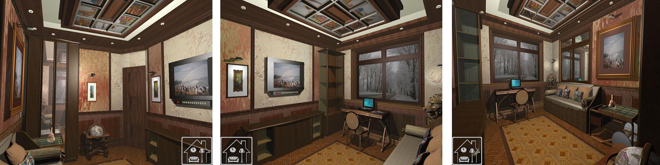 Кабинет в Английском стиле_Витраж в потолке 4