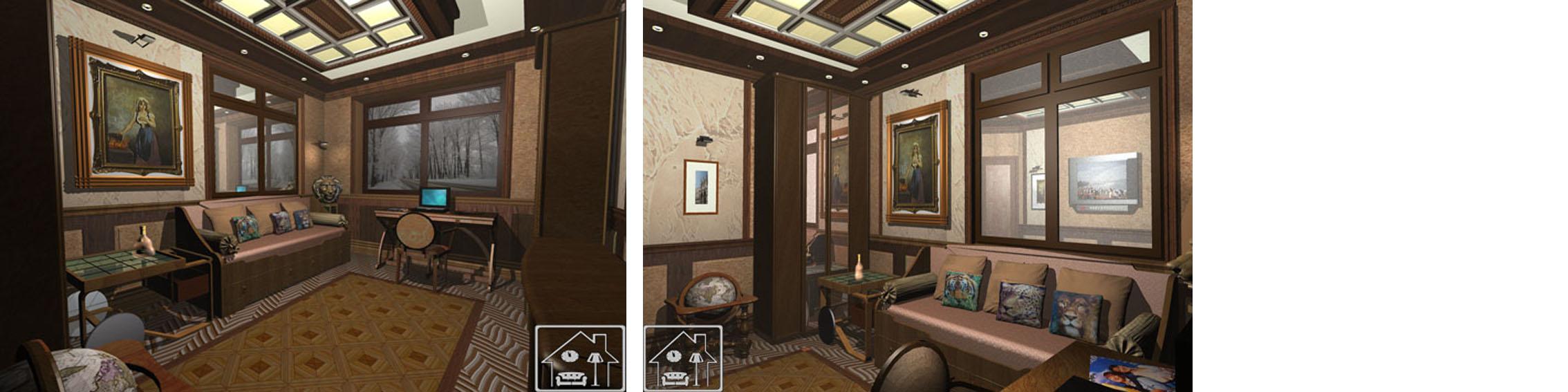 Классический кабинет с подсветкой в кессонном потолке 3