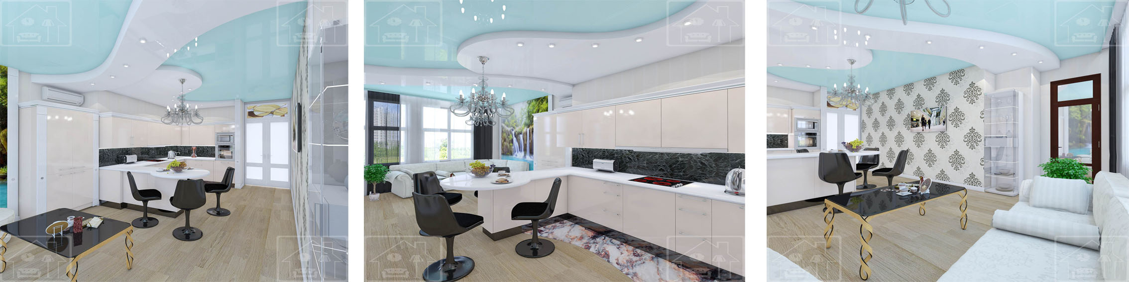 Кухня в современном стиле 4-х комнатная кв_Мичуринский проспект