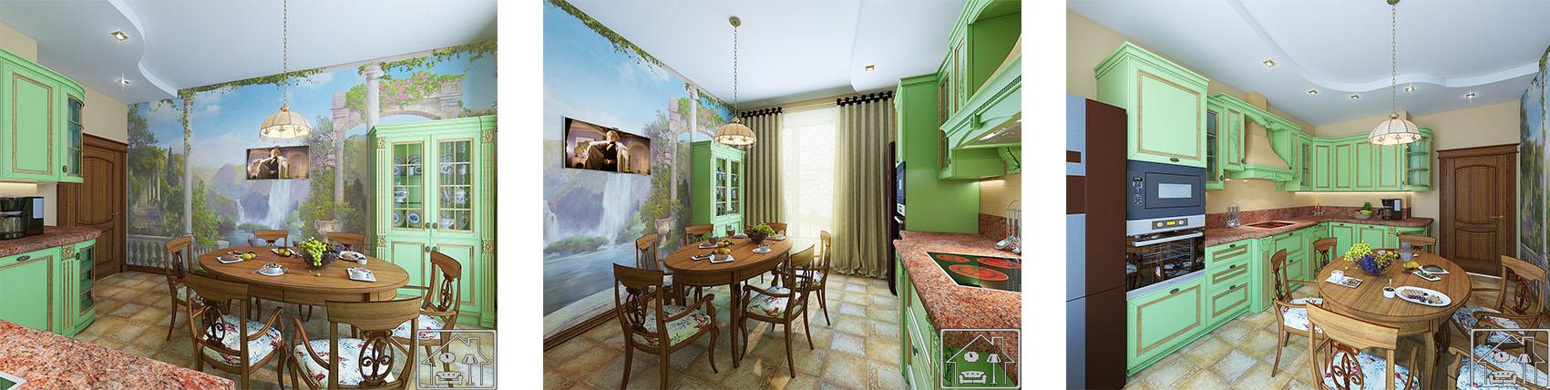 Кухня кантри с фреской