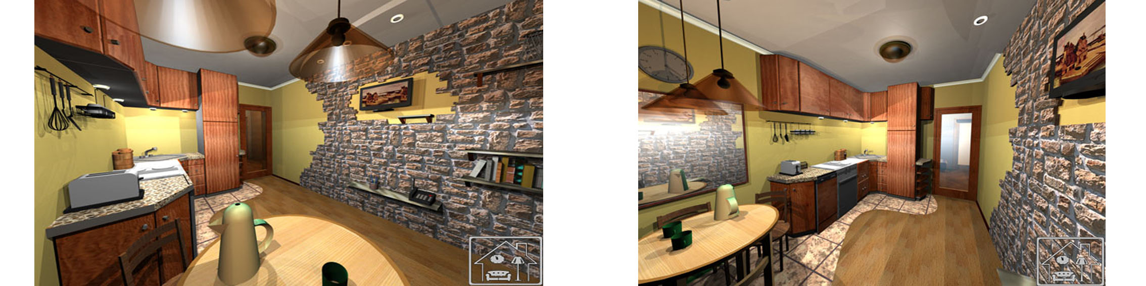 Кухня с отделкой камнем