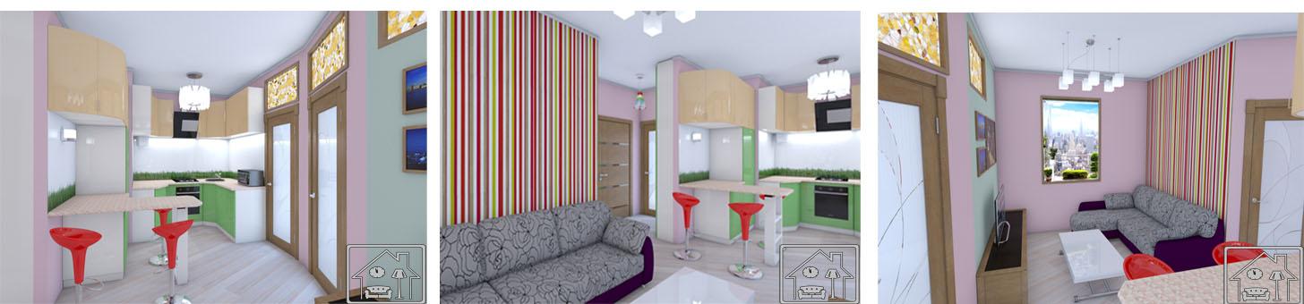 Маленькая гостинай совмещенная с кухней в современном стиле