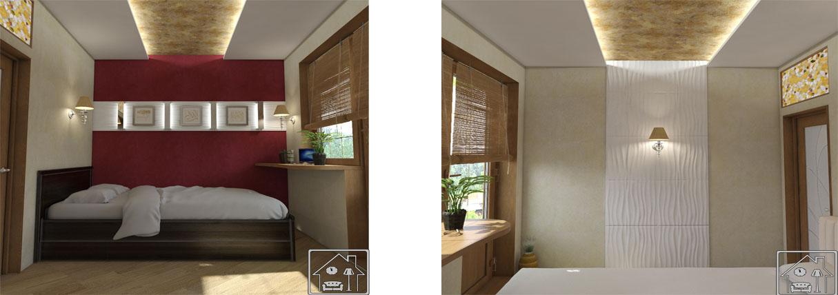 Маленькая спальня_3-Д панель, двухуровневый потолок с подсветкой