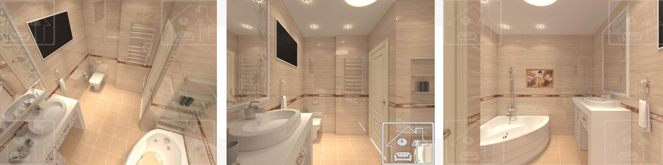 Санузел в стилесовременной классики с угловой гидромассажной ванной и ТВ