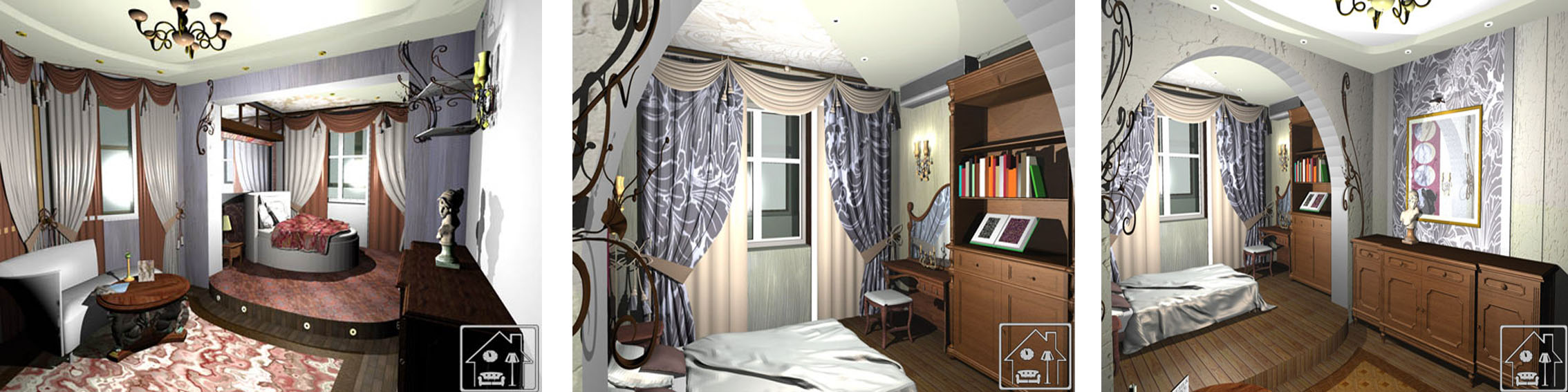 Спальня в классическом стиле на подиуме 4