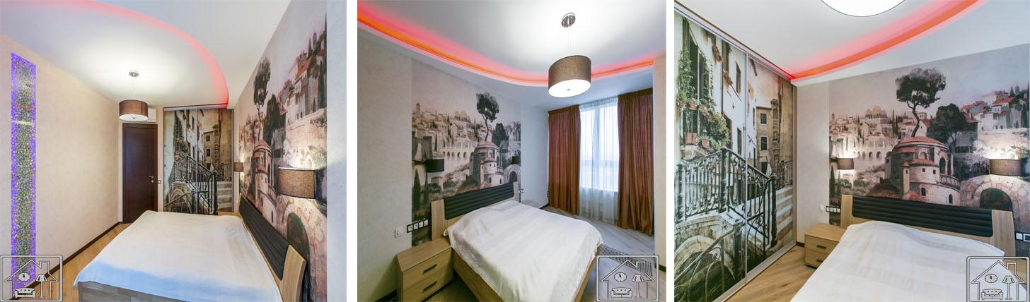 Спальня в эко стиле с подсветкой в стене
