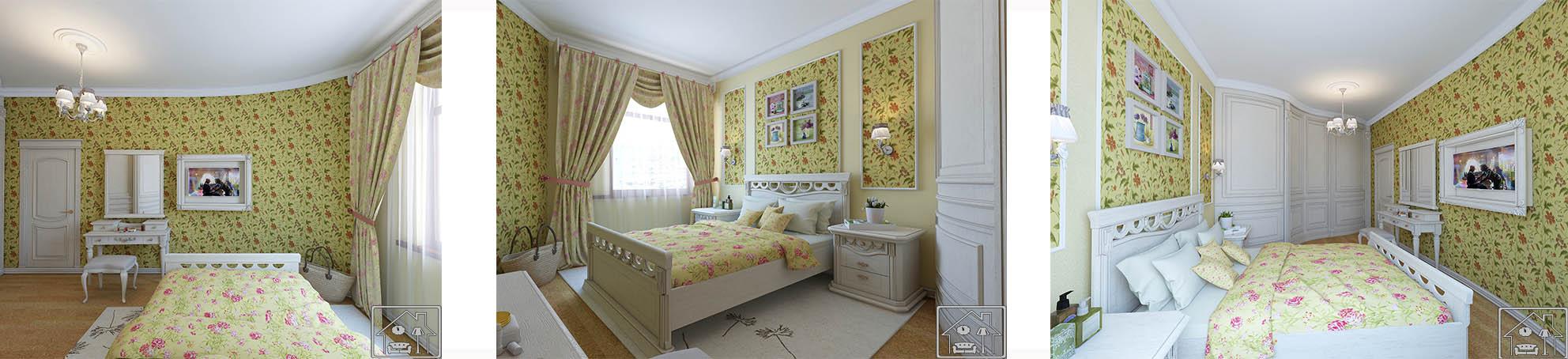 Спальня кантри с цветами золотистая