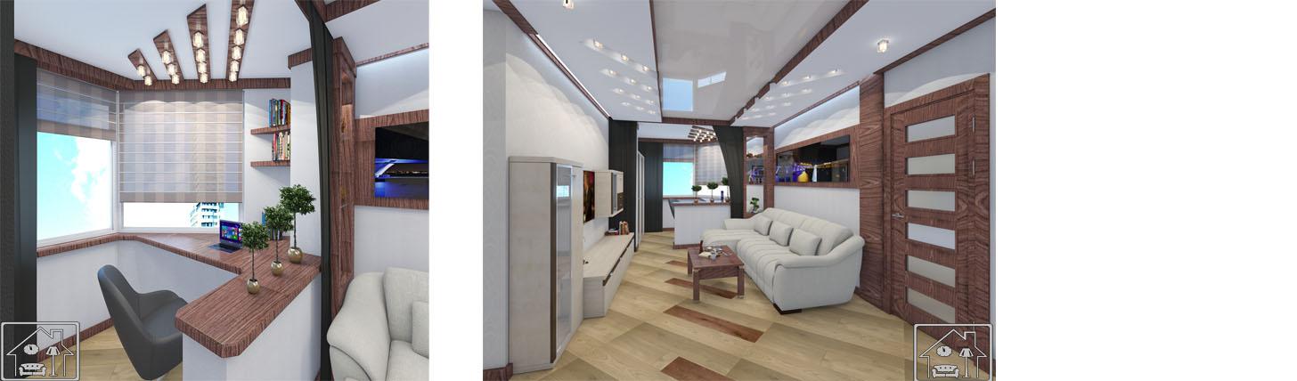 гостиная с кабинетом на балконе