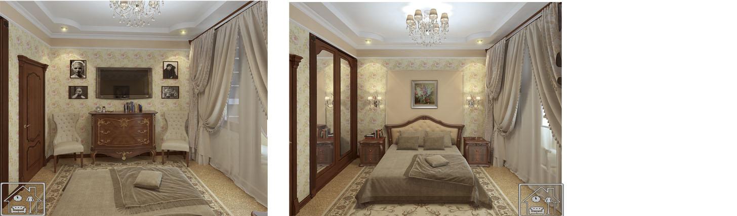 золтая спальня в классическом стиле