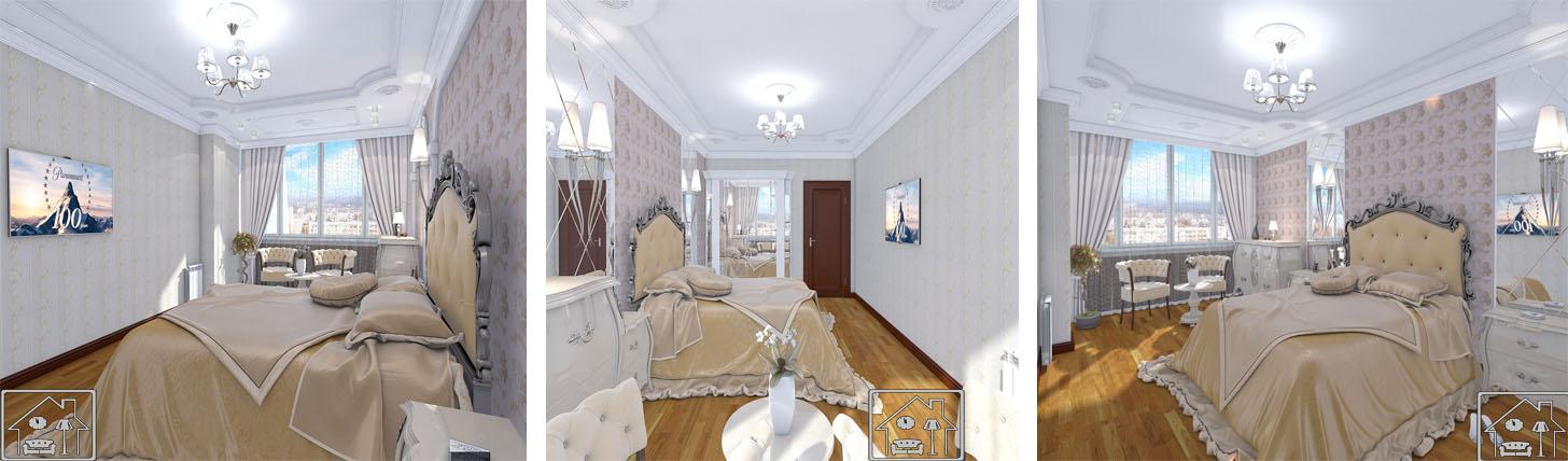 спальня в неоклассическом стиле с настенным декором