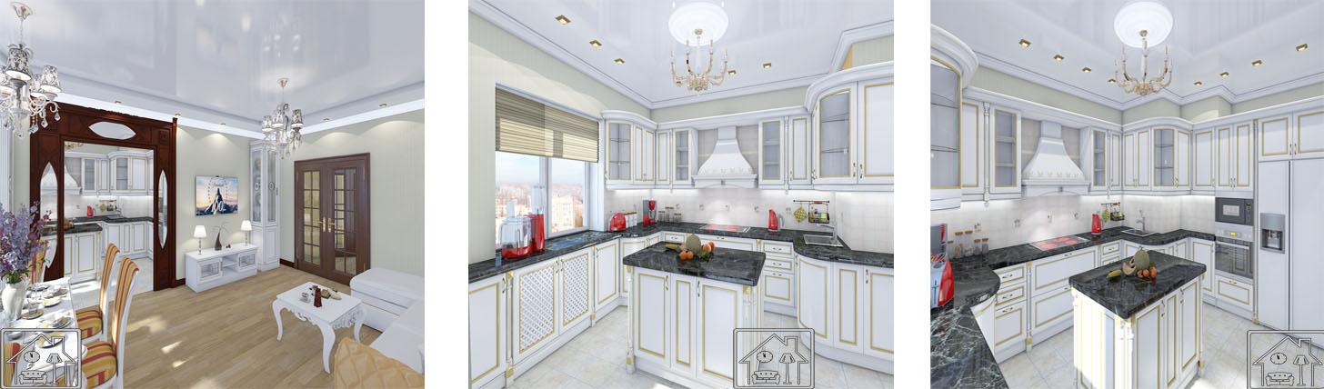 чветлая кухня в классическом стиле